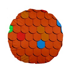 Roof Brick Colorful Red Roofing Standard 15  Premium Flano Round Cushions