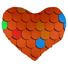 Roof Brick Colorful Red Roofing Large 19  Premium Flano Heart Shape Cushions