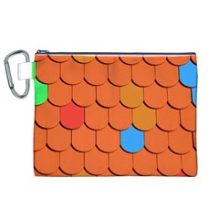 Roof Brick Colorful Red Roofing Canvas Cosmetic Bag (XL)