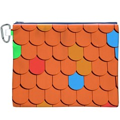 Roof Brick Colorful Red Roofing Canvas Cosmetic Bag (XXXL)