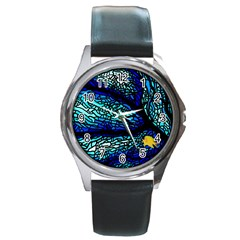 Sea Fans Diving Coral Stained Glass Round Metal Watch