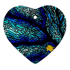 Sea Fans Diving Coral Stained Glass Ornament (Heart)
