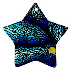 Sea Fans Diving Coral Stained Glass Ornament (Star)