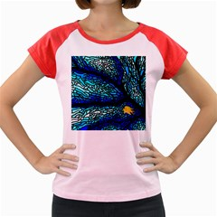 Sea Fans Diving Coral Stained Glass Women s Cap Sleeve T Shirt