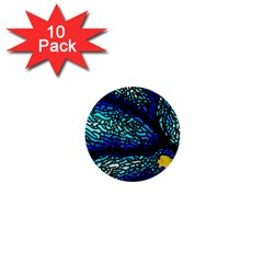 Sea Fans Diving Coral Stained Glass 1  Mini Buttons (10 pack)