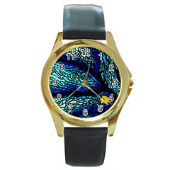 Sea Fans Diving Coral Stained Glass Round Gold Metal Watch