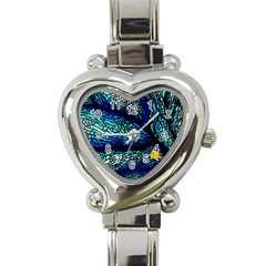 Sea Fans Diving Coral Stained Glass Heart Italian Charm Watch