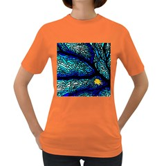 Sea Fans Diving Coral Stained Glass Women s Dark T Shirt