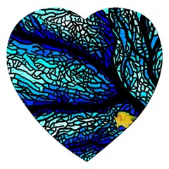 Sea Fans Diving Coral Stained Glass Jigsaw Puzzle (Heart)