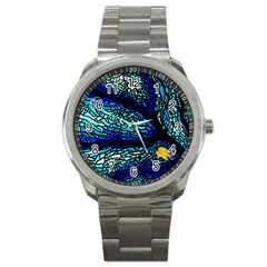 Sea Fans Diving Coral Stained Glass Sport Metal Watch
