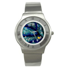 Sea Fans Diving Coral Stained Glass Stainless Steel Watch