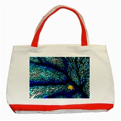 Sea Fans Diving Coral Stained Glass Classic Tote Bag (Red)