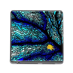 Sea Fans Diving Coral Stained Glass Memory Card Reader (square)
