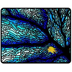 Sea Fans Diving Coral Stained Glass Fleece Blanket (Medium)