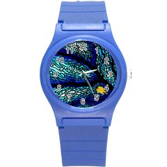 Sea Fans Diving Coral Stained Glass Round Plastic Sport Watch (S)