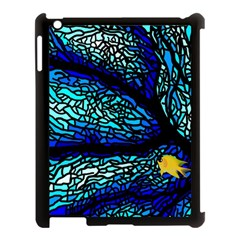Sea Fans Diving Coral Stained Glass Apple iPad 3/4 Case (Black)