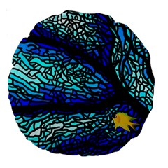 Sea Fans Diving Coral Stained Glass Large 18  Premium Round Cushions