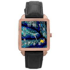 Sea Fans Diving Coral Stained Glass Rose Gold Leather Watch