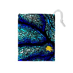 Sea Fans Diving Coral Stained Glass Drawstring Pouches (Medium)