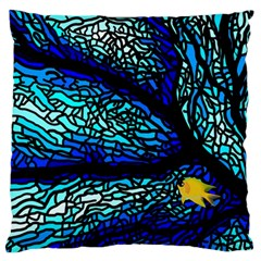 Sea Fans Diving Coral Stained Glass Large Flano Cushion Case (one Side)