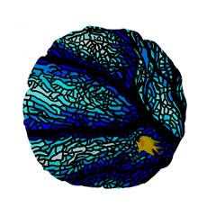 Sea Fans Diving Coral Stained Glass Standard 15  Premium Flano Round Cushions