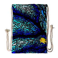 Sea Fans Diving Coral Stained Glass Drawstring Bag (Large)