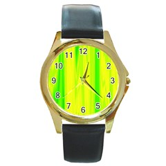 Shading Pattern Symphony Round Gold Metal Watch
