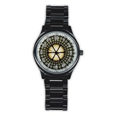 Stained Glass Colorful Glass Stainless Steel Round Watch