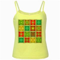 Tiles Pattern Background Colorful Yellow Spaghetti Tank