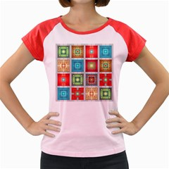 Tiles Pattern Background Colorful Women s Cap Sleeve T Shirt