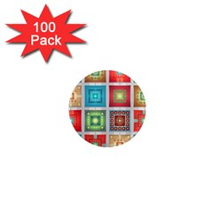 Tiles Pattern Background Colorful 1  Mini Magnets (100 pack)