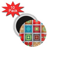 Tiles Pattern Background Colorful 1.75  Magnets (10 pack)
