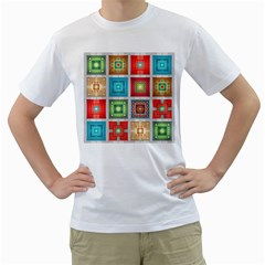 Tiles Pattern Background Colorful Men s T-Shirt (White) (Two Sided)