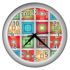 Tiles Pattern Background Colorful Wall Clocks (Silver)