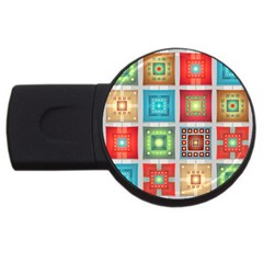 Tiles Pattern Background Colorful USB Flash Drive Round (2 GB)