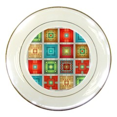 Tiles Pattern Background Colorful Porcelain Plates