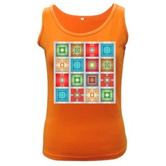 Tiles Pattern Background Colorful Women s Dark Tank Top