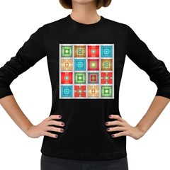Tiles Pattern Background Colorful Women s Long Sleeve Dark T-Shirts