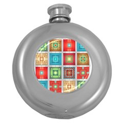 Tiles Pattern Background Colorful Round Hip Flask (5 oz)