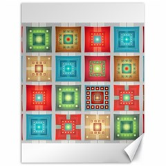 Tiles Pattern Background Colorful Canvas 18  x 24