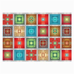 Tiles Pattern Background Colorful Large Glasses Cloth (2-Side)
