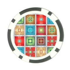 Tiles Pattern Background Colorful Poker Chip Card Guard