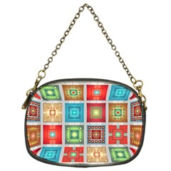 Tiles Pattern Background Colorful Chain Purses (Two Sides)