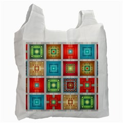 Tiles Pattern Background Colorful Recycle Bag (Two Side)