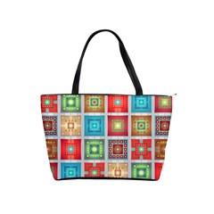Tiles Pattern Background Colorful Shoulder Handbags