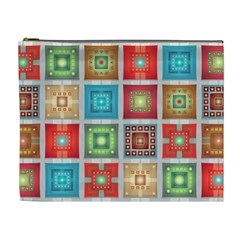 Tiles Pattern Background Colorful Cosmetic Bag (XL)