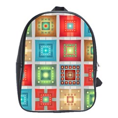 Tiles Pattern Background Colorful School Bags(Large)
