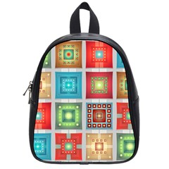 Tiles Pattern Background Colorful School Bags (Small)