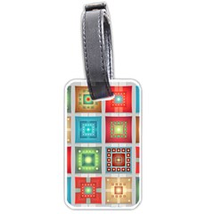 Tiles Pattern Background Colorful Luggage Tags (Two Sides)