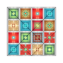 Tiles Pattern Background Colorful Acrylic Tangram Puzzle (6  x 6 )